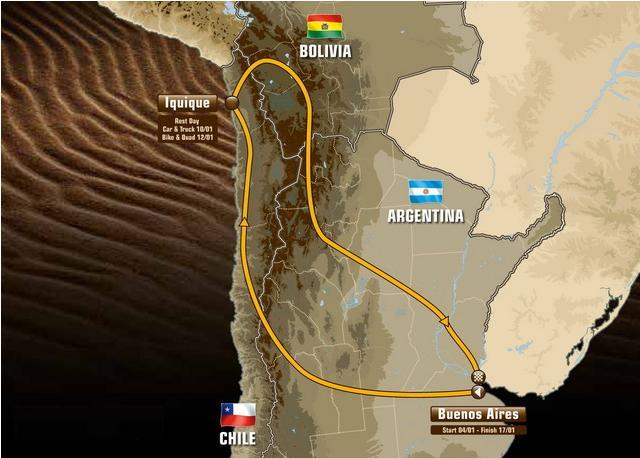 Известен общий маршрут ралли – марафона Дакар – 2015